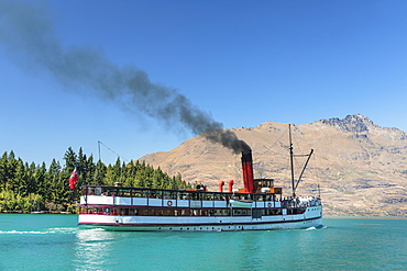 The Earnslaw steam boat on Lake Wakapitu, Queenstown, Otago, South Island, New Zealand, Pacific