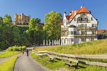 Hohenschwangau Castle and Alpenrose Hotel, Schwangau, Allgau, Schwaben, Bavaria, Germany, Europe