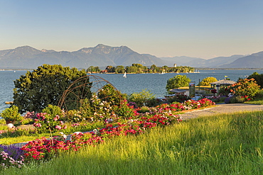 View to Fraueninsel Island at sunset, Gstadt am Chiemsee, Lake Chiemsee, Upper Bavaria, Germany, Europe