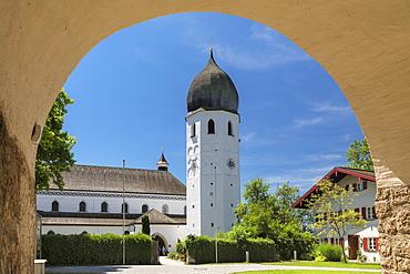 Frauenwoerth Monastery, Fraueninsel Island, Lake Chiemsee, Upper Bavaria, Germany, Europe