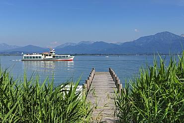 Excursion boat on Lake Chiemsee, Chiemgau, Upper Bavaria, Germany, Europe