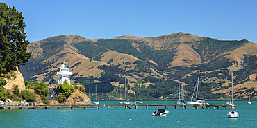 Lighthouse in the Bay of Akaroa, Banks Peninsula, Canterbury, South Island, New Zealand, Pacific