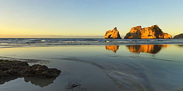 Wharariki Beach at sunset, Golden Bay, Tasman, South Island, New Zealand, Pacific