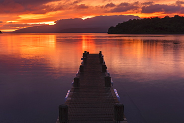 Lake Tarawera at sunrise, Rotorua, North Island, New Zealand, Pacific