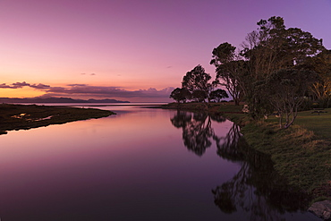 Sunset at Kuaotuno River, Coromandel Peninsula, Waikato, North Island, New Zealand, Pacific