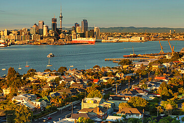 View from Devonport to the Skyline of Auckland at sunrise, North Island, New Zealand, Pacific