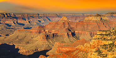View from Cape Royal at sunrise, North Rim, Grand Canyon National Park, Arizona, USA