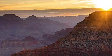 View from South Rim at sunrise, Grand Canyon National Park, Arizona, USA