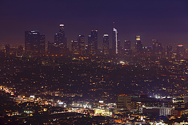 View from Griffith Observatory to Downtown, Los Angeles, California, USA