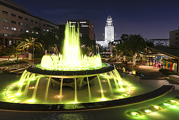 Fountain at Grand Park and town hall, Los Angeles, California, USA
