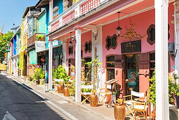 Cafe in Soi Romanee, Sino-Portuguese architecture, Phuket Town, Phuket, Thailand, Southeast Asia, Asia