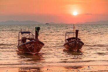 Longtail boats at West Rai Leh Beach, Railay Peninsula, Krabi Province, Thailand, Southeast Asia, Asia