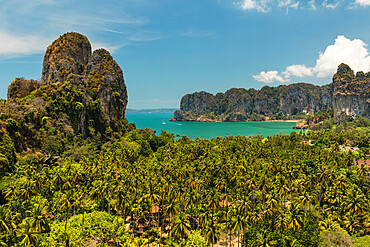 Railay Peninsula with West Rai Leh Beach, Krabi, Thailand, Southeast Asia, Asia