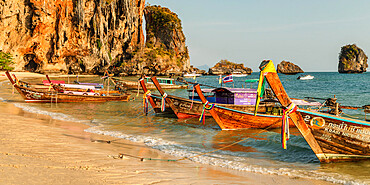Longtail boats on Phra Nang beach, Railay Peninsula, Krabi Province, Thailand, Southeast Asia, Asia