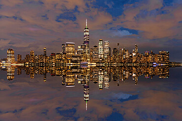 View from Jersey City of Lower Manhattan with the One World Trade Center, New York City, New York State, United States of America, North America