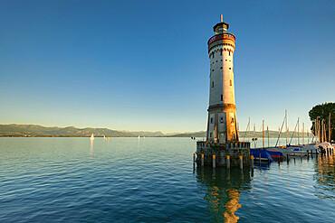 Lighthouse at sunset, Lake Constance, Bavaria, Swabia, Germany