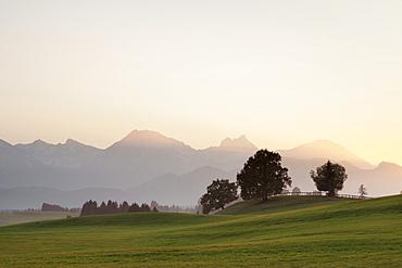 Prealps landscape at sunset, Fussen, Ostallgau, Allgau, Allgau Alps, Bavaria, Germany, Europe