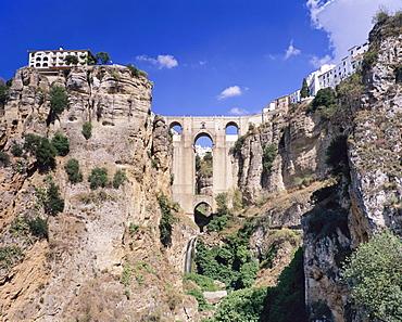 The bridge Puente Nuevo above the gorge of the River Rio Guadalevin, Ronda, Province Malaga, Andalusia, Spain, Europe