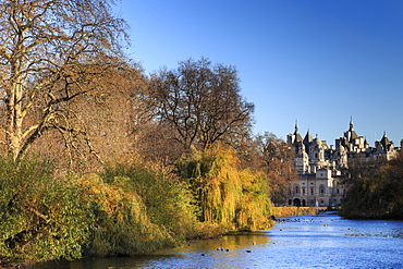St. James's Park, with view across lake to Horse Guards, sunny late autumn, Whitehall, London, England, United Kingdom, Europe