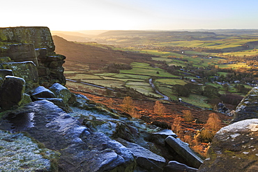 Curbar Edge, at sunrise on a frosty winter morning, Peak District National Park, Derbyshire, England, United Kingdom, Europe
