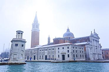 San Giorgio Maggiore in the mist on a cold winter morning after snow, Venice, UNESCO World Heritage Site, Veneto, Italy, Europe