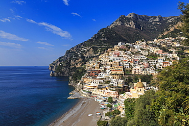 Elevated view of Positano town, church and beach in spring, Amalfi Coast, UNESCO World Heritage Site, Campania, Italy, Europe