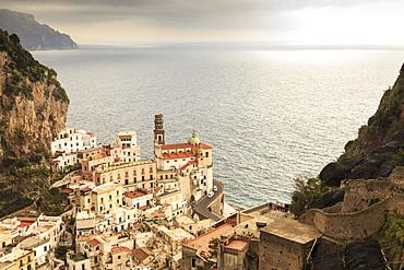 Atrani, elevated view of church, coast road and misty sea, Amalfi Coast, UNESCO World Heritage Site, Campania, Italy, Europe