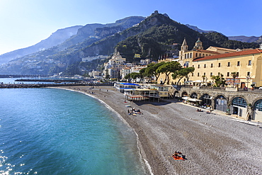 People on beach in spring sun, Amalfi, Costiera Amalfitana (Amalfi Coast), UNESCO World Heritage Site, Campania, Italy, Europe