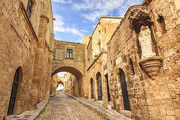 French Chapel and Inns, Street of the Knights, Medieval Old Rhodes Town, UNESCO World Heritage Site, Rhodes, Dodecanese, Greek Islands, Greece, Europe