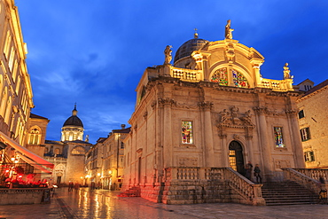 Illuminated Church of St. Blaise and Cathedral, evening blue hour, Old Town, Dubrovnik, UNESCO World Heritage Site, Croatia, Europe