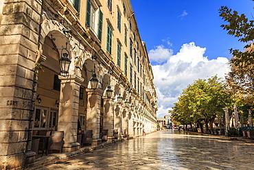 Autumn colours, The Liston, Corfu Town, UNESCO World Heritage Site, Corfu, Ionian Islands, Greek Islands, Greece, Europe