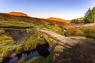 Carl Wark and Higger Tor, autumn sunrise, from Burbage Brook, Hathersage Moor, Peak District National Park, Derbyshire, England, United Kingdom, Europe
