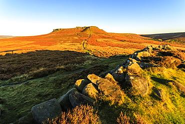 Higger Tor, sunrise in autumn, Hathersage Moor, from Carl Wark Hill Fort, Peak District National Park, Derbyshire, England, United Kingdom, Europe