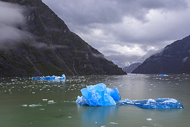 Tracy Arm Fjord, clearing mist, brilliant blue icebergs, cascades and glimpse of the South Sawyer Glacier, Alaska, United States of America, North America