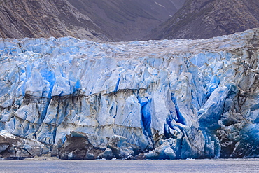 Blue ice face of Sawyer Glacier, Stikine Icefield, Tracy Arm Fjord, Alaska, United States of America, North America