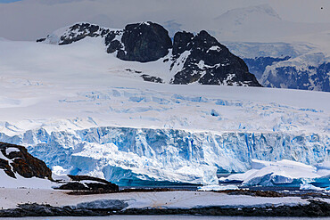 Penguin colonies, icebergs and glaciers, Cuverville Island, Errera Channel, Danco Coast, Antarctic Peninsula, Antarctica, Polar Regions
