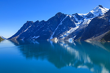 Reflections, South Skjoldungen Fjord, Skjoldungen Island, glorious weather, King Frederick VI Coast, remote South East Greenland, Denmark, Polar Regions