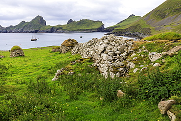 Cleits, food stores and Village Bay, evacuated village, Hirta, remote St. Kilda Archipelago, UNESCO World Heritage Site, Outer Hebrides, Scotland, United Kingdom, Europe