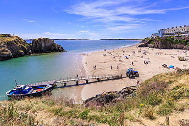 Boat to Caldey Island off Castle Beach, on a sunny day in summer, Tenby, Pembrokeshire, Wales, United Kingdom, Europe