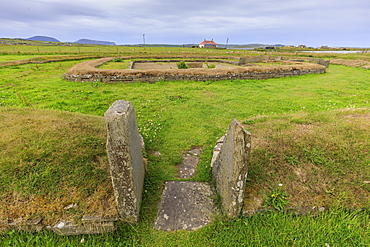 Structure eight of Ness of Brodgar archaeological site in Orkney Islands, Scotland, Europe