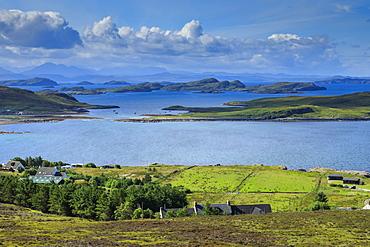 Fields by sea in Achiltibuie, Scotland, Europe