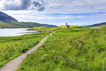 Path through field to Ardvreck Castle in Scotland, Europe