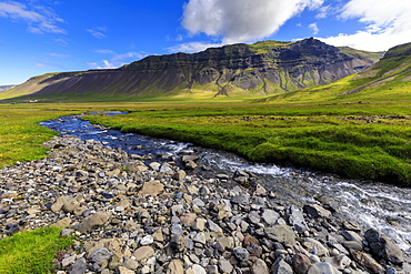 River by mountains in Grundarfjordur, Iceland, Europe