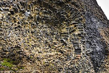 Honeycomb pattern in basalt in Vatnajokull National Park, Iceland, Europe