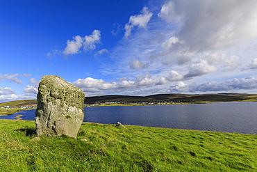 Busta Brae, Standing Stone, cloudscape and coastal views, beautiful day, Busta Voe, Brae, Delting, Shetland Isles, Scotland, United Kingdom, Europe