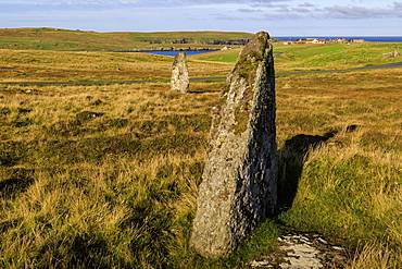 The Giant's Stones, Standing Stones, Hamnavoe, Eshaness, Northmavine, Mainland, Shetland Isles, Scotland, United Kingdom, Europe