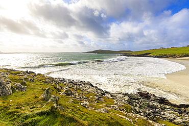 Meal Beach, breaking waves and big seas, stormy weather, Hamnavoe, West Burra Island, near Scalloway, Shetland Isles, Scotland, United Kingdom, Europe