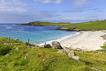 Meal Beach, white sand, turquoise water, one of Shetland's finest, Island of West Burra, Shetland Isles, Scotland, United Kingdom, Europe