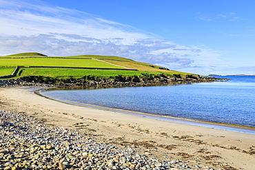 Beautiful Sandwick beach, green hills and cliffs of Ness of Hillswick, Northmavine, Shetland Isles, Scotland, United Kingdom, Europe