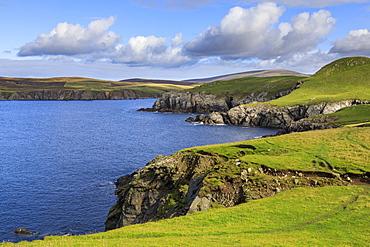 Ronas Hill from Ness of Hillswick, dramatic cliffs, interesting geology, Northmavine, Mainland, Shetland Isles, Scotland, United Kingdom, Europe